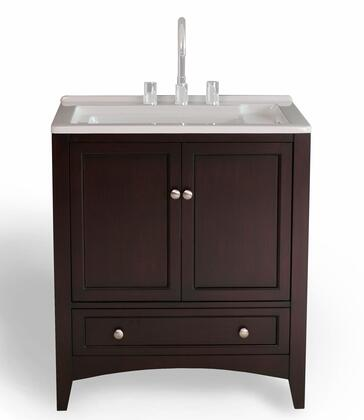 Manhattan GM-Y01 30 inch  Laundry Utility Sink Vanity with Basin Cover  Soft Closing Brushed Nickel Hardware  One Drawer and Two Doors in