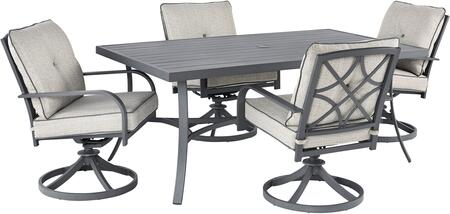 Donnalee Bay Collection P325-625-4SC 5-Piece Patio Set with Rectangular Patio Dining Table and 4 Swivel Chairs in Dark