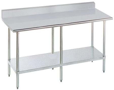 KSLAG-368-X 36 inch  Wide Work Table with Stainless Steel Flat Top and Understructure  and 5 inch  Backsplash  96 inch  x