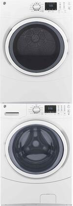 Front Load Speed Wash GFW430SSMWW 27 Washer with GFD43GSSMWW 27 Gas Dryer and GEFLSTACK Stacking Kit Laundry Pair in
