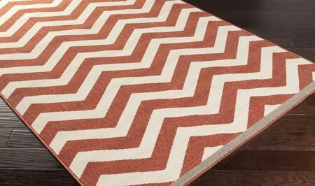 Alfresco ALF9647-2346 2'3 inch  x 4'6 inch  Rectangular 100% Polypropylene Rug with Low Pile  Loop Texture  and Machine Made in Egypt in Cherry and