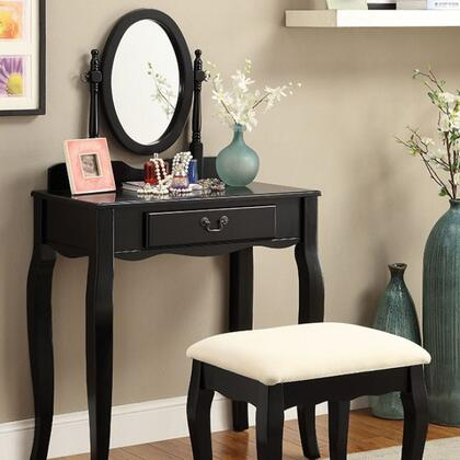 Adrianna CM-DK6433BK Vanity with Transitional Style  Storage Drawer  Adjustable Oval Mirror  Solid Wood/Others in