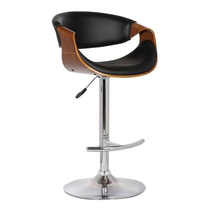 LCBUBAWABL Butterfly Adjustable Swivel Barstool in Black Pu with Chrome Finish and Walnut 768712
