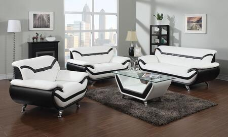 Rozene Collection 51155SLCT 4 PC Living Room Set with Sofa + Loveseat + Armchair + Coffee Table in Black and White