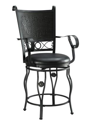Ellie Collection D1062B17CS 24 inch  Big & Tall Counter Stool with Stamped Back Design  PU Seat and Scrolling Details in Matt Black and