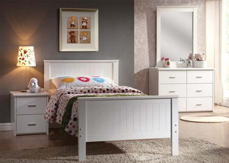 30025TDMN Bungalow Twin Size Panel Bed + Dresser + Mirror + Nightstand in White