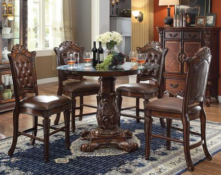 Vendome 62030T4C 5 PC Bar Table Set with Counter Height Table + 4 Chairs in Cherry