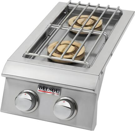 DSSB2N  Natural Gas Double Side Burner with Two 10000 BTU Burners  304 Stainless Steel Construction  Piezo Spark Ignition  and Top Cover  in Stainless