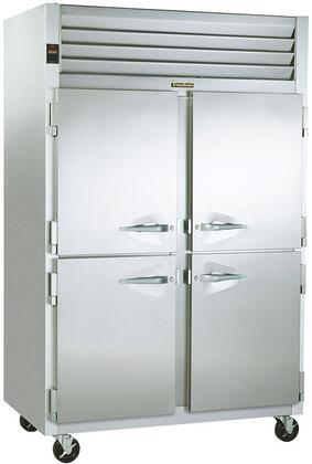 G20000 Reach-In Refrigerator with 2 Sections  46 Cu. Ft. Capacity  6 inch  Casters  and 3 Epoxy Coated Shelves  in Stainless