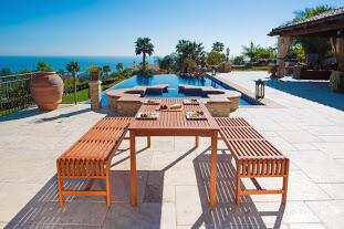 V98SET5 Malibu Eco-Friendly 3-Piece Wood Outdoor Dining