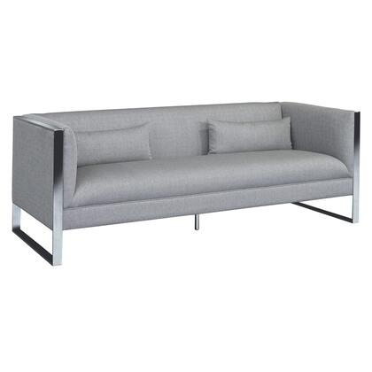 Royce Collection LCRC3GR Contemporary Sofa with Polished Stainless Steel and Grey