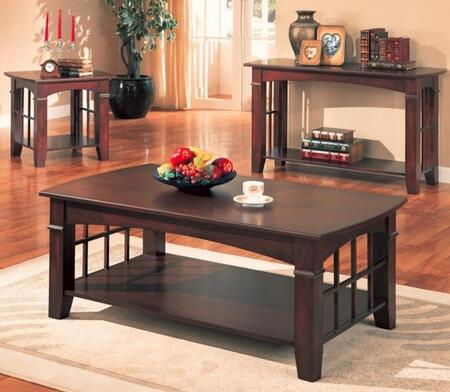 Abernathy Collection 700008SET 3 PC Living Room Table Set with Coffee Table + End Table + Sofa Table in Merlot