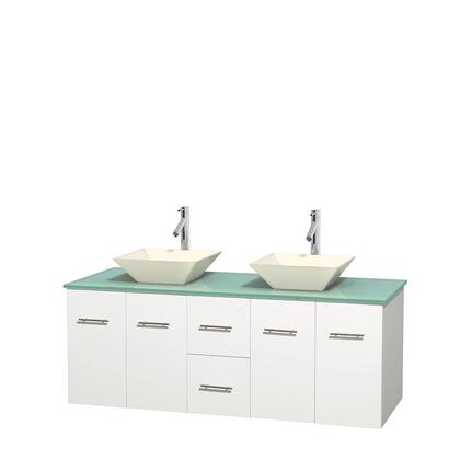 Wcvw00960dwhggd2bmxx 60 In. Double Bathroom Vanity In White  Green Glass Countertop  Pyra Bone Porcelain Sinks  And No