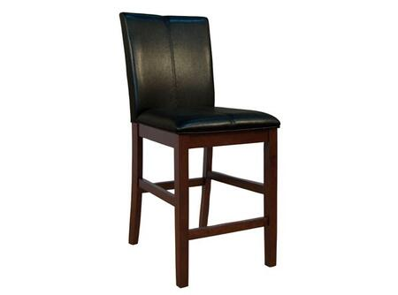 PRSES321K Parson Curved Back Stool with Solid Hardwood Legs in Espresso  No Sag Spring Seating and Easy Care PU Leather Cover in