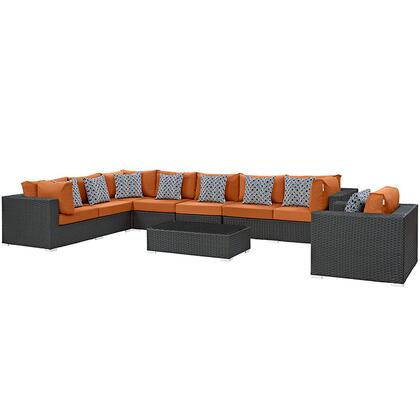 Sojourn Collection EEI-2399-CHC-TUS-SET 7-Piece Outdoor Patio Sunbrella Sectional Set with Armchair  Coffee Table  Corner Section  Left Arm Loveseat  Right Arm