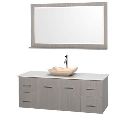 Wcvw00960sgowsgs2m58 60 In. Single Bathroom Vanity In Gray Oak  White Man-made Stone Countertop  Avalon Ivory Marble Sink  And 58 In.