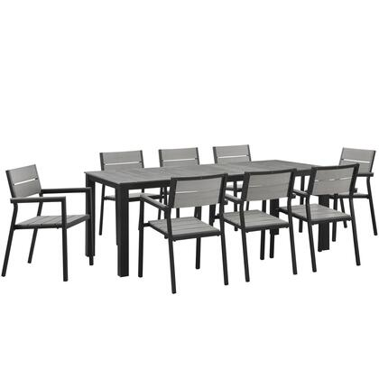 Maine Collection Eei-1753-brn-gry-set 9-piece Outdoor Patio Dining Set With Dining Table And 8 Armchairs In In Brown And