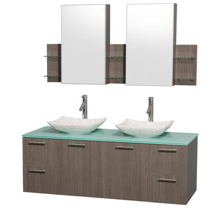 WCR410060DGOGGGS6MED 60 in. Double Bathroom Vanity in Gray Oak  Green Glass Countertop  Arista White Carrera Marble Sinks  and Medicine