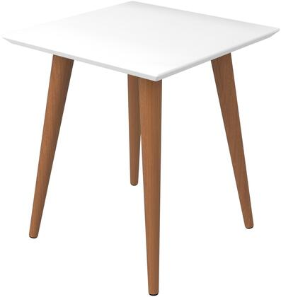 89351 Utopia 19.68 inch  High Square End Table With Splayed Wooden Legs in Off White and Maple