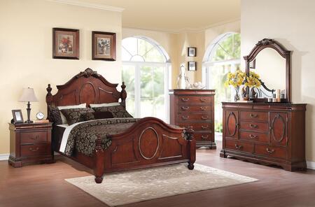 Estrella 21727EK5PC Bedroom Set with Eastern King Size Bed + Dresser + Mirror + Chest + Nightstand in Dark Cherry