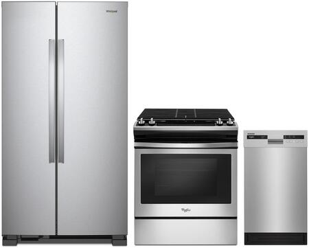 """Whirlpool 3 Piece Kitchen Appliances Package with WRS312SNHM 33"""" Side by Side Refrigerator  WEG515S0FS 30"""" Slide in Gas Range and WDF518SAHM 18"""" Built In Full"""
