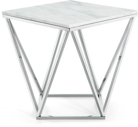 Skyler Collection 244-E 20 inch  End Table with White Marble Top  Architectural Bases  Square Shape and Stainless Steel Legs in Chrome