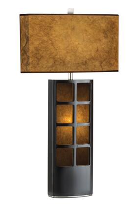 0472DT Ventana Table Lamp in Dark Brown  Brushed Nickel  and Brown