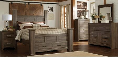 Juararo King Bedroom Set With Poster Storage Bed  Dresser  Mirror And Nightstand In Dark