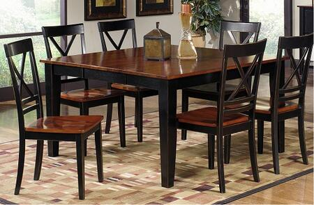 Cosmo Collection P809-RECTDT6SC 7-Piece Dining Room Sets with Rectangular Dining Table and 6 Side Chairs in Cherry and