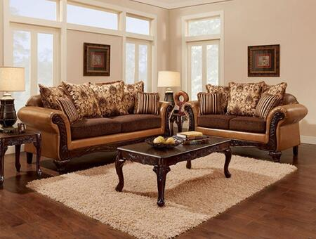 Isabella Collection SM7506-SL 2-Piece Living Room Set with Stationary Sofa and Loveseat in Camel and Dark