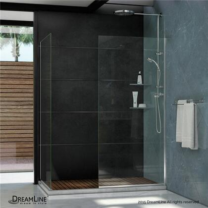 SHDR-3230342-01 Linea Frameless Shower Door. Two Glass Panels: 34 in. x 72 in. and 30 in. x 72 in. Chrome