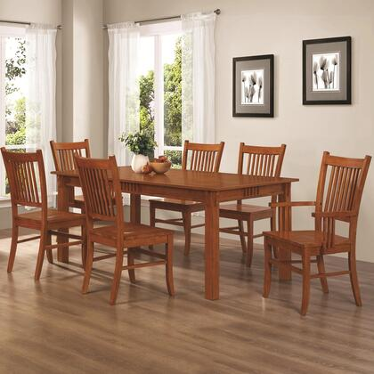 Marbrisa Collection 100621-S7 7-Piece Dining Room Set with Rectangular Dining Table  4 Side Chairs and 2 Arm Chairs in Sienna