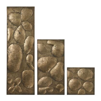 Ramsey Collection 138-020/S3 Set of 3 Wall Panels with Raised Area  Rectangular Shape and Hand Finished in Gold Leaf and Champagne Antique