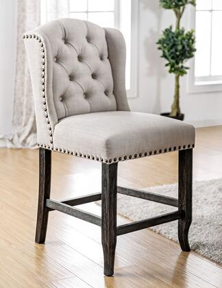 Sania III Collection CM3324BK-PCW-2PK Set of 2 Rustic Style Wingback Inspired Counter Height Chair with Button Tufted Back  Nailhead Trim  Bold Distressed