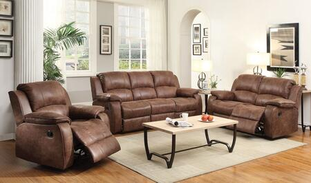 Zanthe II Collection 51440SLRT 6 PC Living Room Set with Sofa + Loveseat + Recliner + Coffee Table + 2 End Tables in Brown