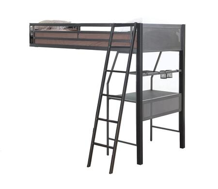 460392 Twin Loft Add-On for Bunk Bed with Guard Rails  Work Surface and Storage Shelf in