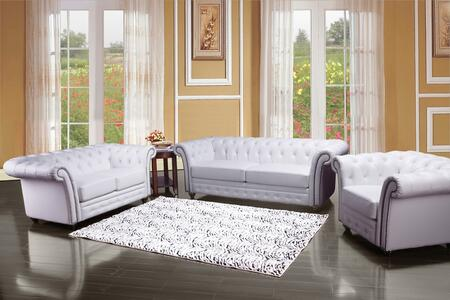 Camden 50165SLC 3 PC Living Room Set with Sofa + Loveseat + Chair in White