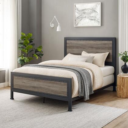 BQAWGW Rustic Modern Farmhouse Industrial Queen Size Bed in Grey