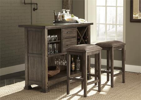 Stone Brook Collection 466-DR-3BAR 3-Piece Bar Set with Pub Table and 2 Barstools in Rustic Saddle