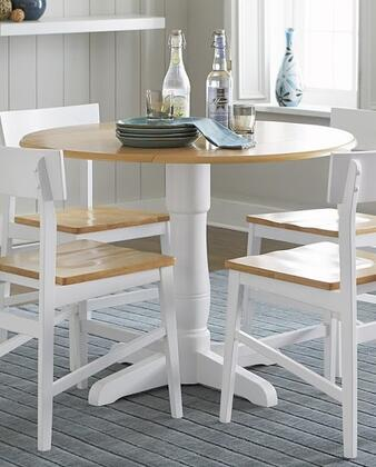 Christy Collection D878-13B-13T Round Dining Table in Light Oak and White