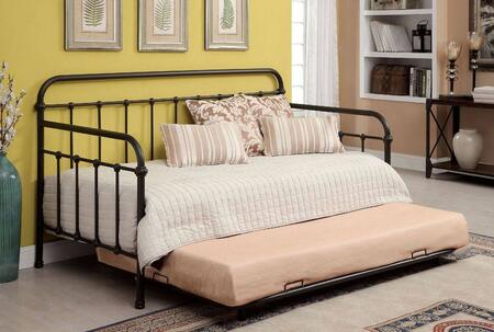 Claremont Collection CM1925BR-WITHTRUNDLE Twin Size Daybed with Trundle  Spindle Guardrails  Metal Construction and Powder Coated Finish in Dark