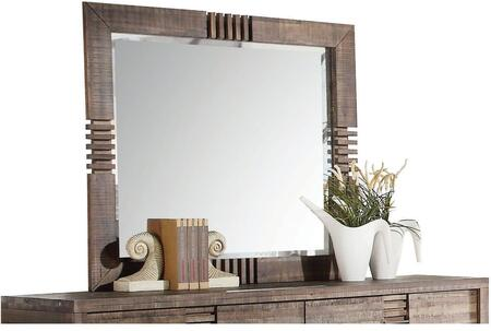 Andria Collection 21294 44 inch  x 39 inch  Mirror with Beveled Edges  Rectangle Shape and Acacia Wood Construction in Reclaimed Oak