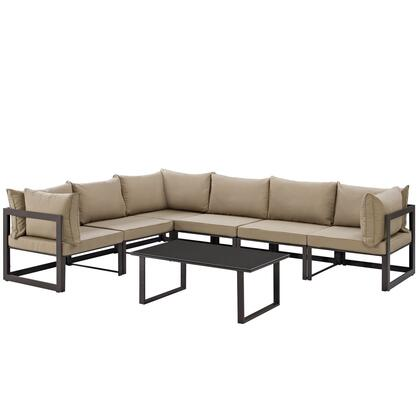 Fortuna Collection EEI-1737-BRN-MOC-SET 7-Piece Outdoor Patio Sectional Sofa Set with Coffee Table  3 Center Sections and 3 Corner Sections in Brown and