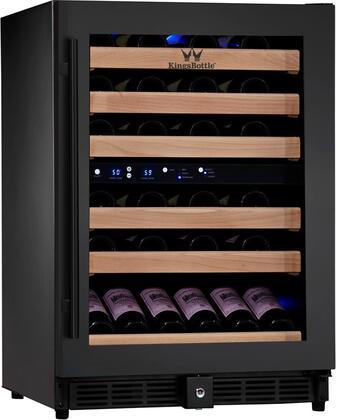KingsBottle KBU50DFG 46 Bottle Dual Zone Wine Cooler, Black with Glass Door