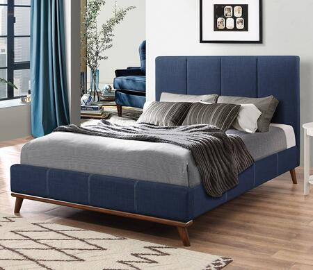 Charity Collection 300626Q Queen Size Bed with Fabric Upholstery  Low Profile Footboard  Tapered Legs and Sturdy Wood Frame Construction in