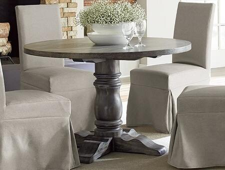 Muse P836-13B-13T Round Dining Table with Molding Details  Distressed Detailing and Rubberwood Construction in Weathered