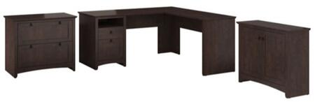 Buena Vista MY13830-03-8096 3-Piece Desk Set with L-Shaped Desk  Storage Cabinet and File Cabinet in Madison Cherry