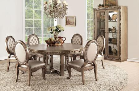 Orianne Collection 63785TCC 8 PC Dining Room Set with Round Shaped Dining Table  Curio Cabinet and 6 Champagne PU Leather Upholstered Side Chairs in Antique