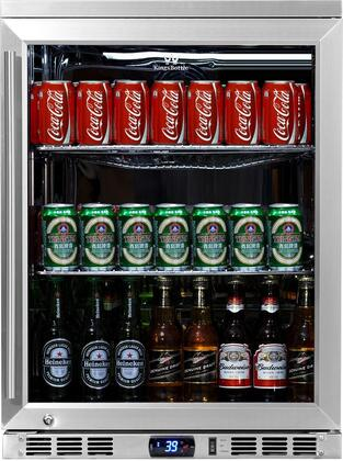 KBU-55-SS 24 inch  Single Glass Door Undercounter Beverage Cooler with x Can Capacity  Chrome Shelves  Heated LOW E-Glass  Lock and Stainless Steel Interior and
