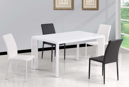 FIONA-5PC-WHT FIONA DINING 5 Piece Set - Gloss White Parson Dining Table with 4 White Fully Upholstered Stackable Side